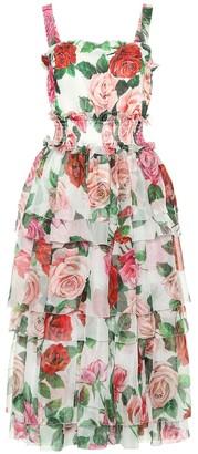 Dolce & Gabbana Rose-printed silk midi dress