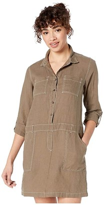 Michael Stars Pilar Woven Linen Shirtdress with Contrast Stitching (Camo) Women's Clothing