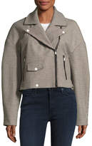 Tibi Atticus Houndstooth Moto Jacket