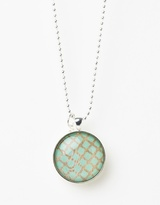 Aqua On Beech Pendant Necklace with Fire Polished Beads
