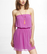 Express Bright Pink Smocked Waist Tube Dress