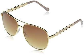 Jessica Simpson J5844 Classic Full Rim Brow Bar Metal Aviator Sunglasses with Round Pearl Temple Detail