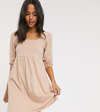 Asos Tall ASOS DESIGN Tall square neck puff sleeve smock dress in beige