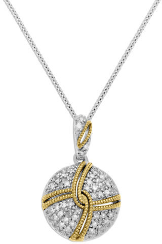 Lord & Taylor Sterling Silver with 14Kt. Yellow Gold Diamond Circle Pendant