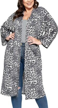 Curvyture Leopard Print Open Front Duster