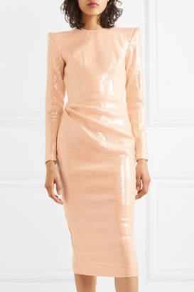 Alex Perry Corbet Gathered Sequined Crepe Midi Dress - Beige