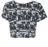 Select Fashion Fashion Womens Grey Rose Check Boxy Crop Top - size 12