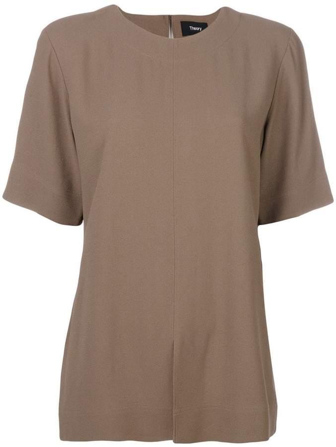 Theory slit hem shortsleeved blouse