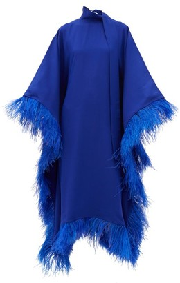 Taller Marmo Casta Diva Feather-trimmed Crepe Dress - Blue