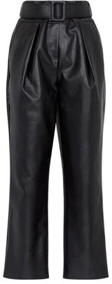 Self-Portrait Faux Leather High-Waist Trousers