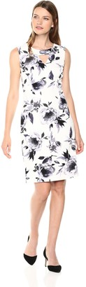 Kasper Women's Floral Printed Scuba Crepe Dress with Triangle Key Hole