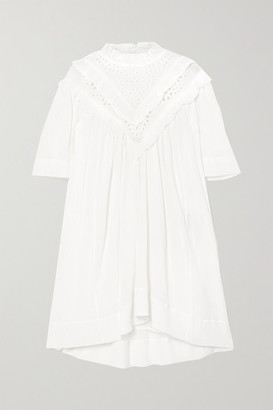 Etoile Isabel Marant Inalio Ruffled Crinkled Cotton-blend Dress - White