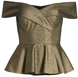 Teri Jon By Rickie Freeman Off-the-Shoulder Metallic Peplum Top