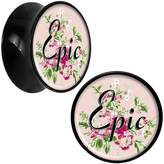 Body Candy Acrylic Pink Floral Epic Saddle Plug Pair 1/2""