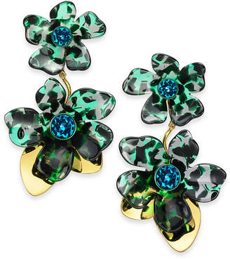 Kate Spade Gold-Tone Pave Flower Statement Earrings