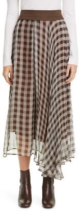 Brunello Cucinelli Leather Waist Gingham Pleated Silk Tulle Midi Skirt