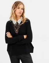 The Kooples Mix Fleece & Lace Top