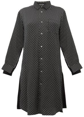Junya Watanabe Polka-dot Satin Shirtdress - Womens - Black Multi