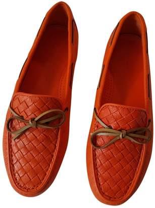 Bottega Veneta Orange Leather Flats