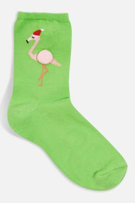 Topshop Womens Green Flamingo Pom Socks - Green