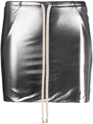 Rick Owens Metallic Drawstring Mini Skirt