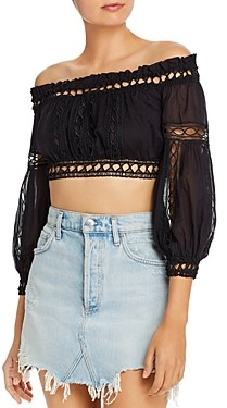 Charo Ruiz Ibiza Alova Off-the-Shoulder Cropped Top
