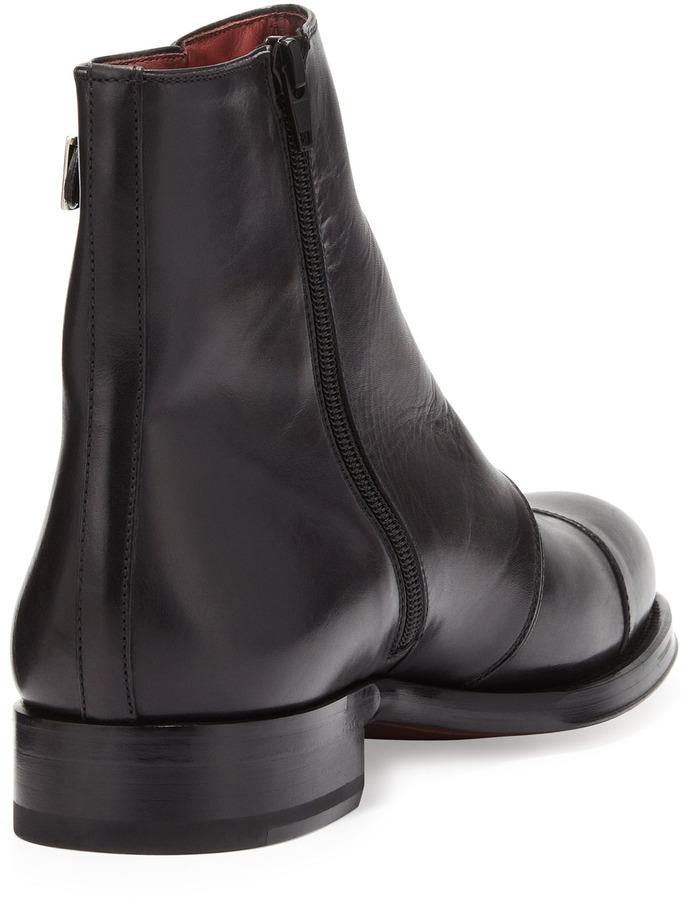 Bergdorf Goodman Hand-Antiqued 3-Buckle Chelsea Boot, Gray