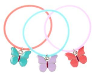 Crazy 8 Butterfly Charm Jelly Bracelet 3-Pack