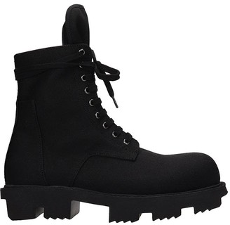 Drkshdw Bozo Megatooth Combat Boots In Black Canvas