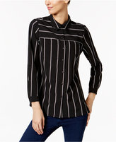 NY Collection Petite Striped Utility Blouse