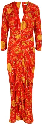 Rixo Rose Printed Silk Midi Dress