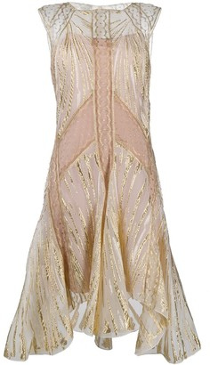 Alberta Ferretti Metallic Threaded Flared Dress