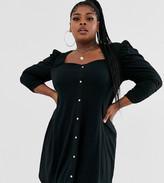 Asos DESIGN curve long sleeve popper front tea dress
