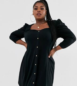 Asos DESIGN curve long sleeve popper front tea dress-Black