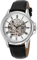 Rotary GS00372-01 Men's Auto Black Genuine Leather Skeletonized Silver-Tone