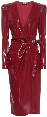 Saint Laurent Latex wrap midi dress