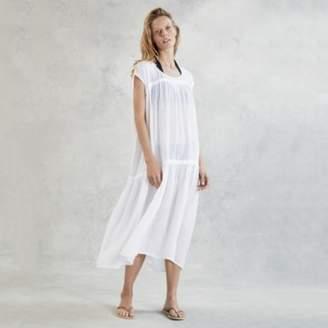 The White Company Linen Gauze Oversized Midi Dress, White, L/XL