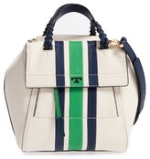 Tory Burch Small Half Moon Stripe Leather Satchel - White