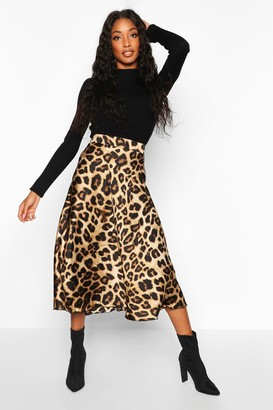 boohoo Leopard Satin Full Midi Skirt