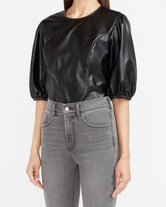 Express Vegan Leather Puff Sleeve Top