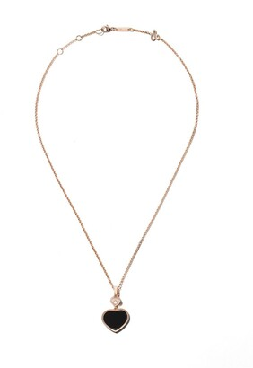 Chopard 18kt rose gold Happy Hearts onyx and diamond pendant necklace