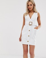 Asos Design DESIGN belted mini button through sundress