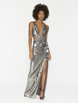 Halston Bi-Sequins Cut Out Gown