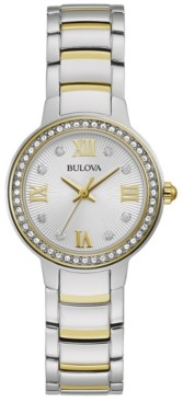 Bulova Women's Crystal Two-Tone Stainless Steel Bracelet Watch 28mm, Created for Macy's