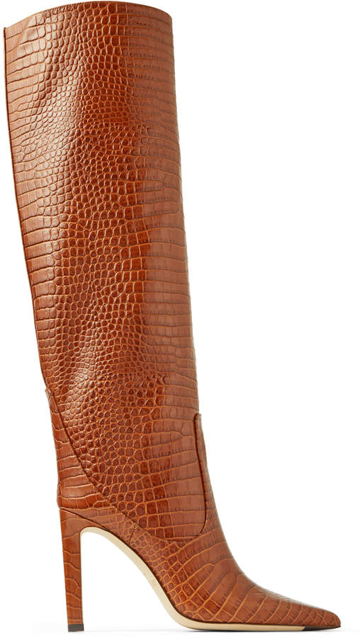 3b8ae31fa9b MAVIS 100 Cuoio Croc Embossed Leather Knee High Boots
