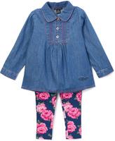 Tommy Hilfiger Blue & Pink Floral Tunic & Leggings - Girls