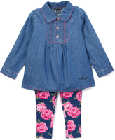 Tommy Hilfiger Blue & Pink Floral Tunic & Leggings - Infant & Girls