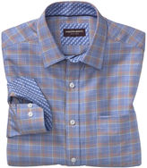 Johnston & Murphy Zigzag-Ground Windowpane Point- Collar Shirt
