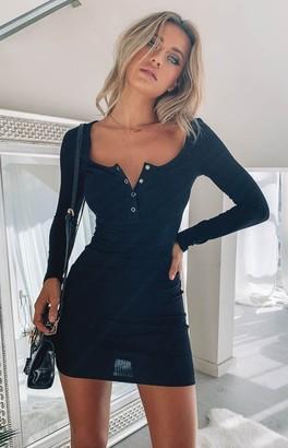 Beginning Boutique Skyler Ribbed Long Sleeve Dress Black