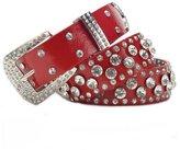 Sitong Women's fashion Crystal Rhinestone wide leather belt